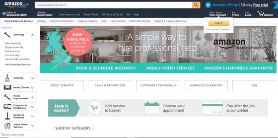 Amazon Home Business review website for plumbing and heating company