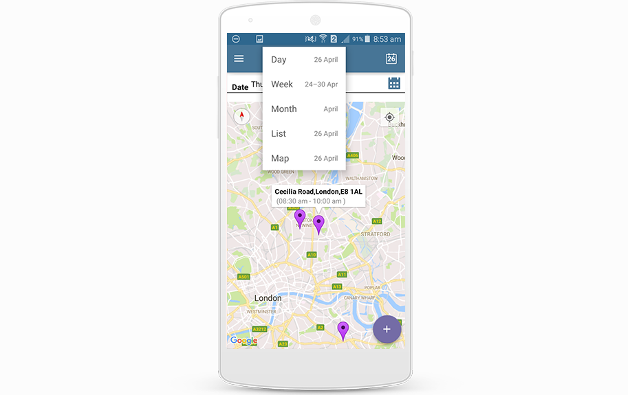 Map view on the diary for Android