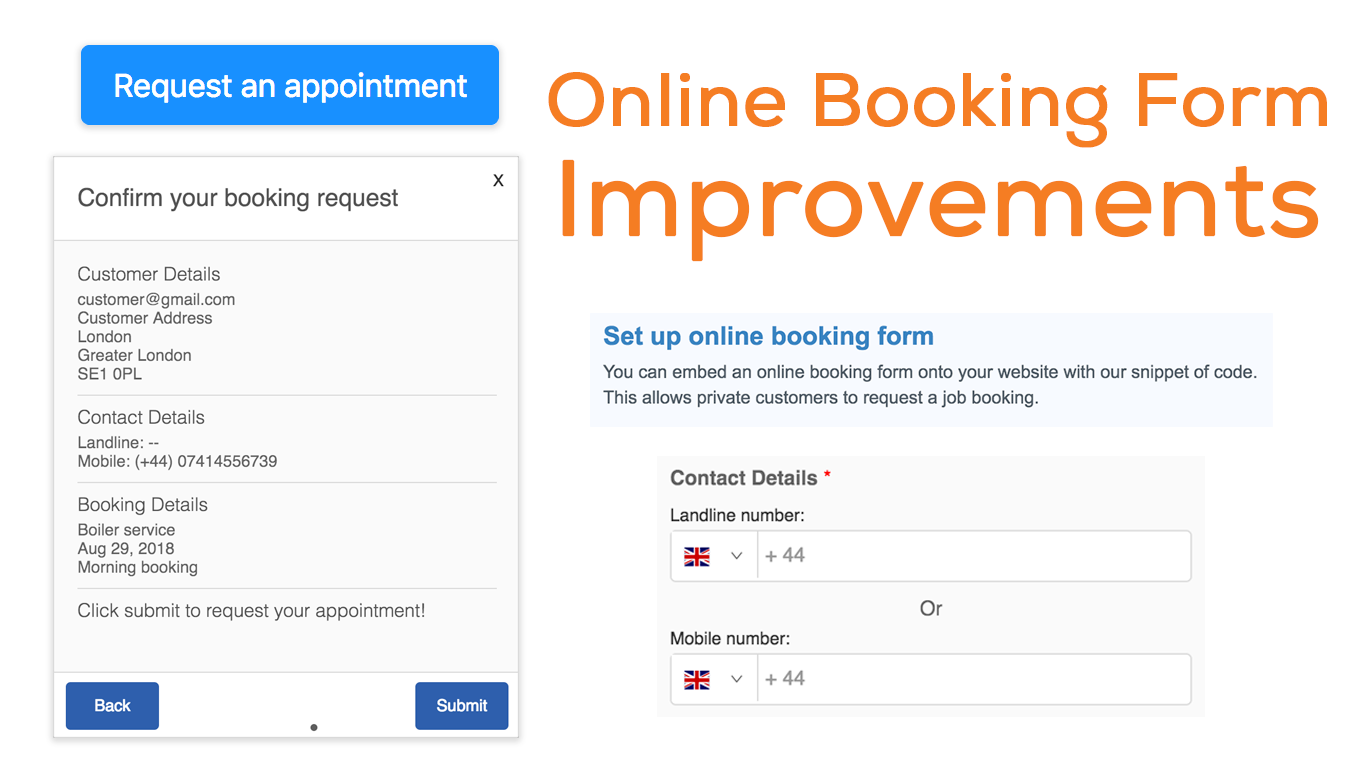 Online booking form - minor improvements