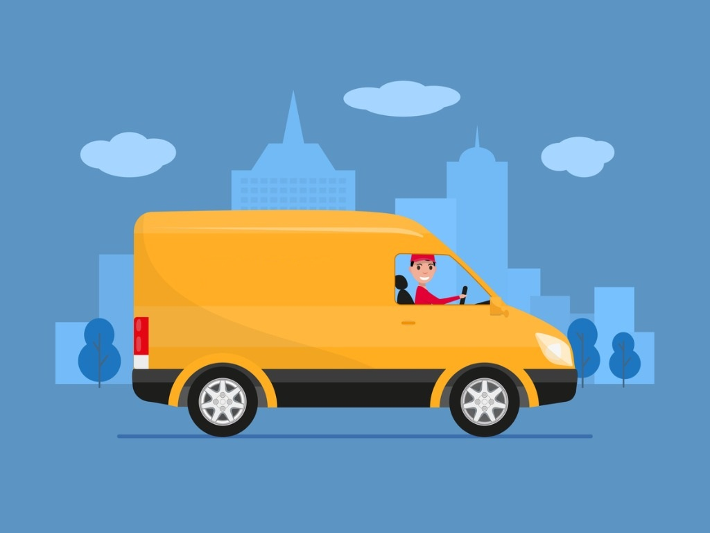 van driving on blue background with route optimisation software